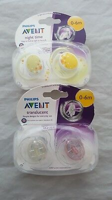 Philips Avent Soothers 2 X Translucent & 2 X Night Time Orthodontic 0 - 6 Months