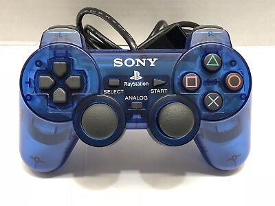 Official Sony PlayStation 2 PS2 DualShock 2 Controller Blue Tested Authentic