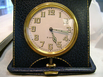 Buren 8 day Travel desk clock Luminous Markers and hands Leather case Vintage
