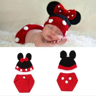 Newborn Baby Crochet Knit Minnie Mouse Costume Hat+Pants Photography Prop Outfit