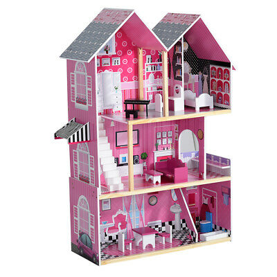 Three Storey Wooden House Girls Kids Doll Mansion Wood Play Christmas Gifts UK