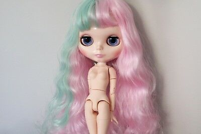 """12"""" Neo Blythe Doll with Outfit - Joint Body Beige Skin Pink and Mint Hair"""