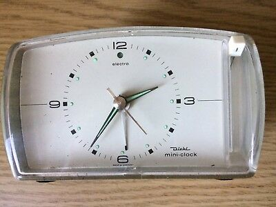 Vintage Diehl Electro mini clock - Grey Plastic Casing - Working