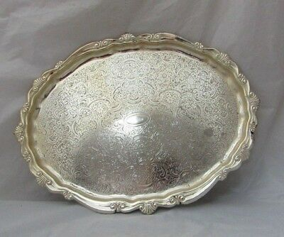Vintage Silver Plated Platter Plate Tray Salver Serving Tray Platter Scroll Larg