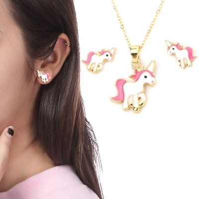 Childrens Girl Kids Lovely Pink Unicorn Necklace and Earring Set Brand New