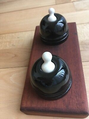2 X Original Victorian Black & White Porcelain Light Switches Mounted Perfect
