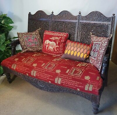 BEAUTIFUL c1800s ANTIQUE PROFUSELY HAND CARVED ANGLO INDIAN ROSEWOOD SETTEE SOFA