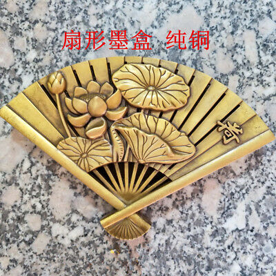 Exquisite Old Antique collection pure copper cartridge fan-shaped Lotus ink box