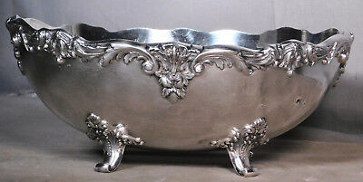 Antique REED BARTON BURGUNDY Silver Plate Oval Baroque Footed Bowl Centerpiece