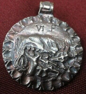 Ancient Roman Legionary Senatorial Silver Pendant Inscribed SHE WOLF AMAZING
