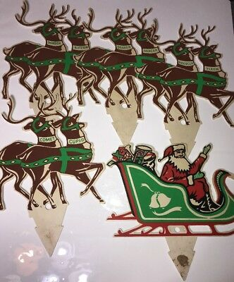 Vintage Plastic Christmas Yard Decor Santa's Sleigh & Reindeer antique