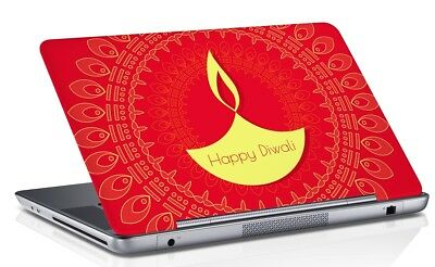 Happy Diwali Universal Laptop Skin Cover Red Vinyl  Fits 14.1 to 15.6 Inches