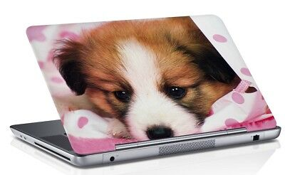 Puppy Printed Laptop Skin Cover Pink Art Vinyl Decal Fits 14.1 to 15.6 Inches
