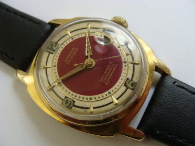 Vintage 1950s gents swiss date watch with rare red dial..25j