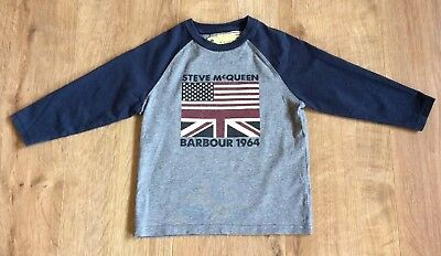 Barbour Boys Top, Steve Mcqueen Usa & Uk Flag Graphic - Size Xxs (2-3 Years)
