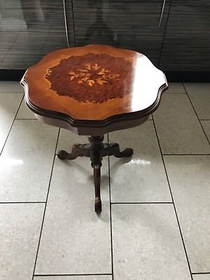 Regency Style Reproduction Small Side Mahogany & Yew Flower Detail Table