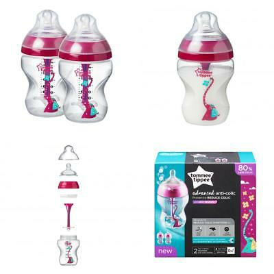 Tommee Tippee Advanced Anti-Colic Baby Bottle, Girl, 9 oz., 2-Pack