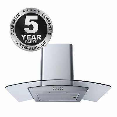 SIA CG61SS 60cm Curved Glass Stainless Steel Chimney Cooker Hood Extractor Fan