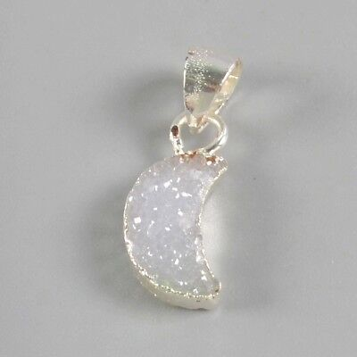 10x7mm 925 Sterling Silver Crescent Natural Agate Druzy Pendant Bead T070926