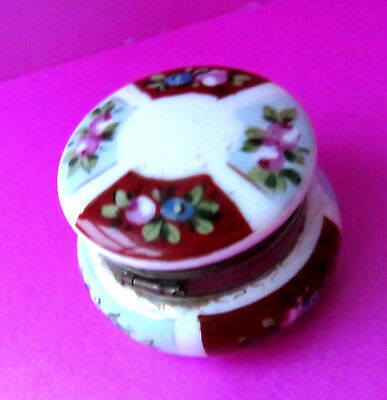 Antique Milk Glass  Hinge Open  Miniature Jar,hand Painted Florals.