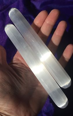 "Chunky Bold 6"" SELENITE Generator Pure WHITE Massage Wand Point Crystal"