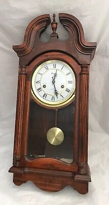 Vintage Wooden Lincoln 31 Day Wall Clock with Key Roman Numerals & Instructions
