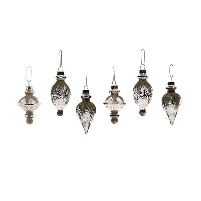 Vintage Style Silver Metallic Glass Ornament Set 6 | Glitter Retro Antique