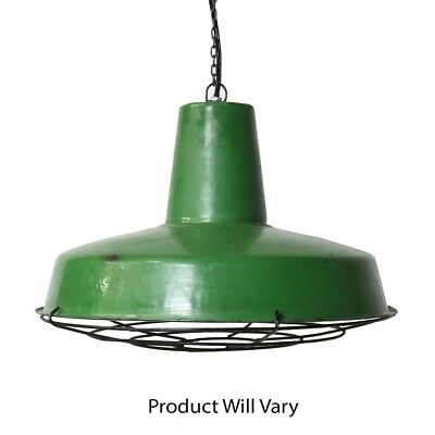 Vintage Style Industrial Green Metal Pendant Light   Hanging Shade Cage Dome