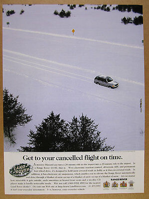 1997 Land Rover Range Rover 4.0 SE deep snow driving photo vintage print Ad