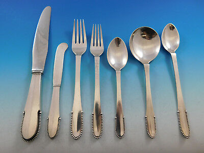 Beaded by Georg Jensen Sterling Silver Flatware Set for 8 Service 56 pcs Dinner