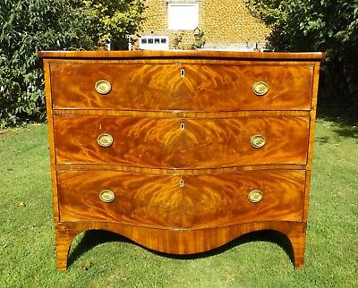 Fine Serpentine Fronted Antique George III Georgian Mahogany Chest Of Drawers.