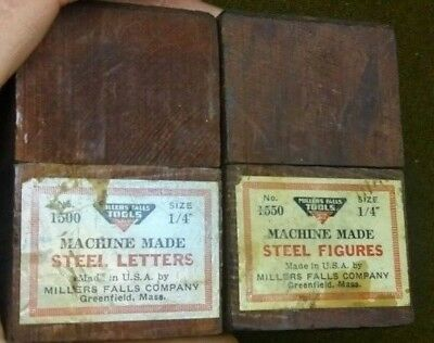 """Bundle Millers Falls 1/4"""" Steel Figures 1500 & 1550 Punch Letters & Numbers Red"""
