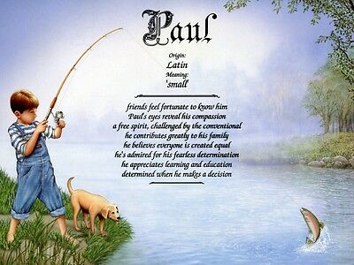 """First Catch 1"" Name Meaning Print Personalized (Children, Fishing)"