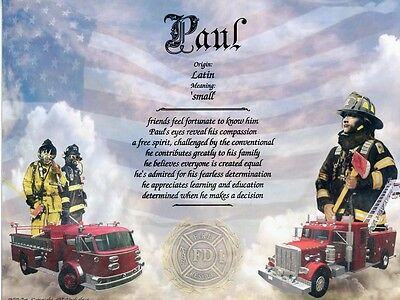 Firefighter Themed Name Meaning Print Personalized (Fireman, Service)