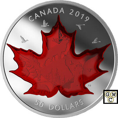 2019'Celebrating Canada's Icons-Maple Leaf' Prf $50 Fine Silver 5oz. Coin(18648)
