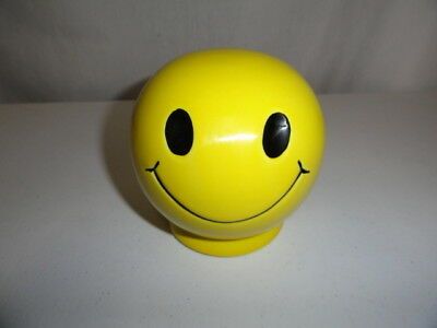 Vintage 1970s Smiley Face Ceramic Coin Bank Yellow Made in USA