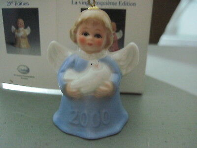 2000 Goebel ANGEL BELL ORNAMENT Blue With Dove in Box