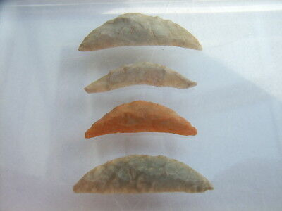 4 Ancient Neolithic Flint Scrapers, Stone Age, VERY RARE !!  TOP !!