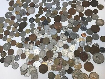 HUGE 3+ lb Lot Of FOREIGN WORLD COINS OLD SILVER (a2)