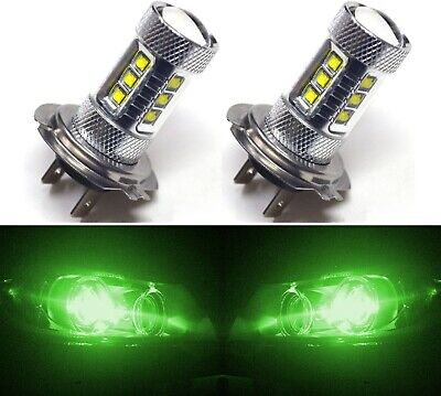 LED 80W H7 Green Two Bulbs Head Light High Beam Replace Show Use Plug Play