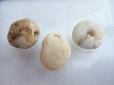 3 Ancient Neolithic Quartz Beads, Amulet, Stone Age, VERY RARE !!