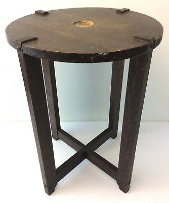 Antique Mission Style 4 Legged Side Table Round Top Furniture Wood Plant Stand