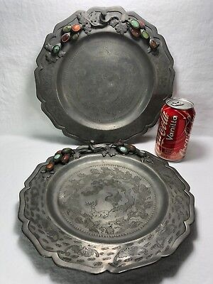 Two 19c Chinese Pewter Platter Plates Engraved Animals Bats Jade Carnelian Inlay