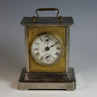 Antique French Metal Carriage Clock with Chimes and Elaborate Melody