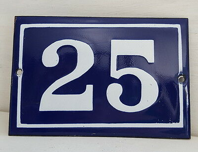 OLD FRENCH HOUSE NUMBER SIGN door gate PLATE PLAQUE Enamel steel metal 25 Blue