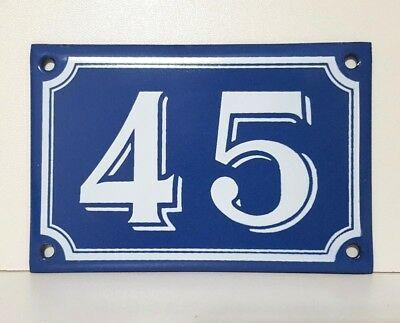 Vintage French Blue Enamel Porcelain Door House Gate Number Sign Plate 45