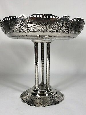 Early Antique Persian Solid Silver Tazza Compote Centerpiece 4 Signatures 950g