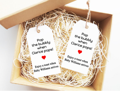 Pop the bubbly Tags Baby Shower Labels Wine Labels Wine Tags Personalised 15x