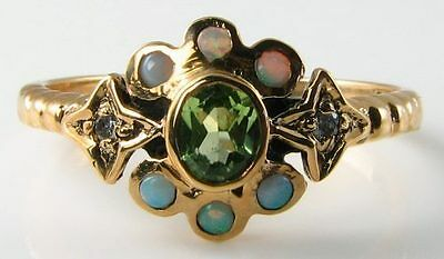 9Ct 9K Gold Vintage Ins Astral Sun  Moon Stars Diamond Peridot Opal Ring