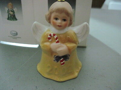 2002 Goebel ANGEL BELL ORNAMENT Yellow With Candy Cane in Box